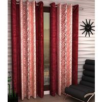 India Furnish Eyelet Polyester Curtain Door Length - Set Of 4 Pcs (IFCUR15021(4) ),  maroon