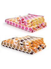 Turkish Bath 100% Pure Double Twisted Cotton 410 Gsm Polka Dot Bath And Hand Towel Set - Brown And Red