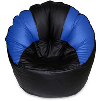 India Furnish Mudda Sofa Bean Bag Cover Black And Blue Color (Without Beans)