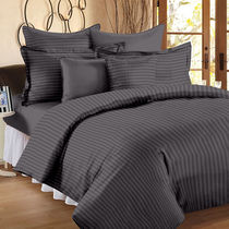 Ahmedabad Cotton Premium Sateen Striped Single Bedsheet SS