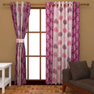 India Furnish Eyelet Polyester Curtain Long Door Length - Set Of 6 Pcs (IFCUR15092L(6) ), wine