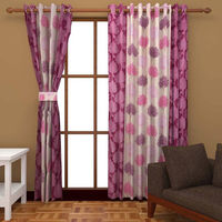 India Furnish Eyelet Polyester Curtain Long Door Length - Set Of 4 Pcs (IFCUR15092L(4) ), wine