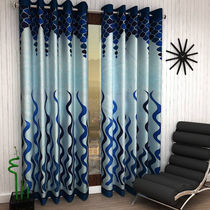 India Furnish Designer Blue Eyelet Polyester Curtain Door Length (Set of 5 Pcs) 84