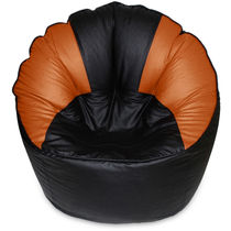 India Furnish Mudda Sofa Bean Bag Cover Black And Brown Color (Without Beans)