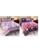 Valtellina Cotton Combo Of 2 Double Bed Sheet With 4 Pillow Cover (CO_ TRT-19), multicolor