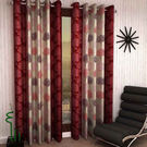 India Furnish Eyelet Polyester Curtain Long Door Length - Set Of 8 Pcs (IFCUR15041L(8) ),  maroon