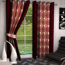 India Furnish Designer Maroon Eyelet Polyester Curtain Door Length (Set of 2 Pcs) 84