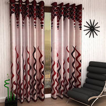 India Furnish Designer Maroon Eyelet Polyester Curtain Door Length (Set of 6 Pcs) 84