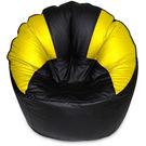 India Furnish Mudda Sofa Bean Bag Cover Black And Yellow Color (Without Beans)