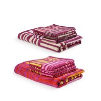 Turkish Bath 100% Pure Double Twisted Cotton 410 Gsm Broken Check Bath And Hand Towel Set - Pink And Purple
