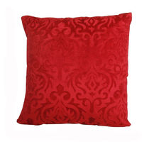 India Furnish Velvet Damask Red Cushion Covers (Pack Of 5)