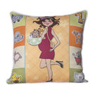 Monogram Multicolour Square Polyester With Digital Print Cushion Cover Set - 5 Piece (552A1818)