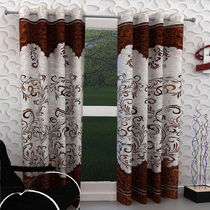 India Furnish Eyelet Polyester Curtain Long Door Length - Set Of 8 Pcs (IFCUR15007L(8) ),  brown