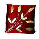 India Furnish Golden Leaf Maroon Cushion Covers (Pack Of 5)