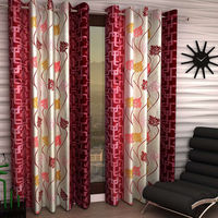 India Furnish Eyelet Polyester Curtain Long Door Length - Set Of 6 Pcs (IFCUR15022L(6) ),  maroon