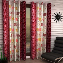 India Furnish Eyelet Polyester Curtain Long Door Length - Set Of 5 Pcs (IFCUR15022L(5) ),  maroon