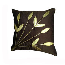 India Furnish Golden Leaf Brown Cushion Covers (Pack Of 5)
