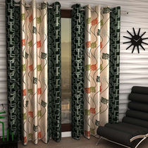 India Furnish Eyelet Polyester Curtain Long Door Length - Set Of 4 Pcs (IFCUR15015L(4) ),  green