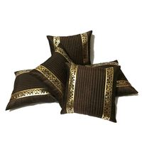 "India Furnish Dupion Silk Quilt Design 5 Pieces Cushion Covers Set - 16"" X 16"" , Brown"