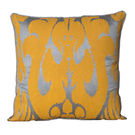 Monogram Mustard Square Polyester Hand Print Cushion Cover Set - 5 Piece