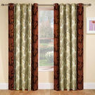 India Furnish Designer Brown Eyelet Polyester Curtain Window Length (Set of 5 Pcs) 60
