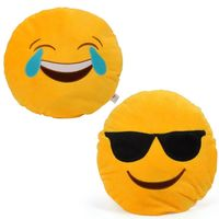 Cortina Cortina Smiley Cushion Set Of 2 (SC-SO2-001),  yellow