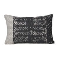 Monogram Light Grey Rectangular Cotton Hand Printed Cushion Cover Set - 5 Piece (552A1642)