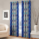 India Furnish Eyelet Polyester Curtain Door Length - Set Of 3 Pcs (IFCUR15043(3) ), turquoise