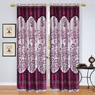 India Furnish Eyelet Polyester Curtain Door Length - Set Of 3 Pcs (IFCUR15006(3) ), wine