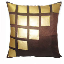 India Furnish Laser Patch Brown Cushion Covers (Pack Of 5)