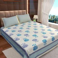 Ahmedabad Cotton Jaipuri Collection Cotton Double Bedsheet With 2 Pillow Covers (ACB20D00123)