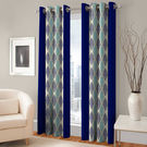India Furnish Designer Blue Eyelet Polyester Curtain Door Length (Set of 6 Pcs) 84