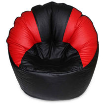 India Furnish Mudda Sofa Bean Bag Cover Black And Red Color (Without Beans)