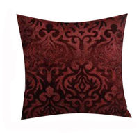 India Furnish Velvet Damask Brown Cushion Covers (Pack Of 5)