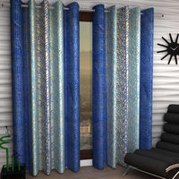 India Furnish Eyelet Polyester Curtain Long Door Length - Set Of 3 Pcs (IFCUR15101L(3) ),  blue
