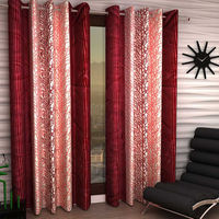 India Furnish Eyelet Polyester Curtain Long Door Length - Set Of 5 Pcs (IFCUR15021L(5) ),  maroon