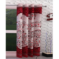 India Furnish Eyelet Polyester Curtain Long Door Length - Set Of 1 Pcs (IFCUR15020La),  maroon