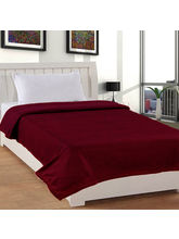 India Furnish Plain Polyester Fleece Blanket-Maroon
