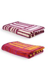 Turkish Bath 100% Pure Double Twisted Cotton 410 Gsm Broken Check Bath Towel - Pink And Purple