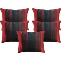 "India Furnish Dupion Silk Quilt Design 5 Pieces Cushion Covers Set - 16"" X 16"" , Maroon"