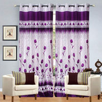 India Furnish Eyelet Polyester Curtain Door Length - Set Of 4 Pcs (IFCUR15034(4) ),  purple
