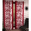 India Furnish Eyelet Polyester Curtain Door Length - Set Of 4 Pcs (IFCUR15016(4) ),  maroon