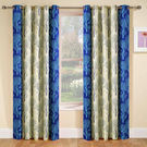 India Furnish Designer Blue Eyelet Polyester Curtain Window Length (Set of 2 Pcs) 60