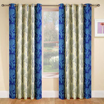 India Furnish Designer Blue Eyelet Polyester Curtain Window Length (Set of 3 Pcs) 60