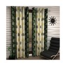 India Furnish Eyelet Polyester Curtain Door Length - Set Of 4 Pcs (IFCUR15042(4) ),  green