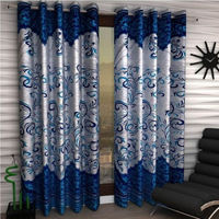 India Furnish Eyelet Polyester Curtain Long Door Length - Set Of 5 Pcs (IFCUR15012L(5) ), turquoise