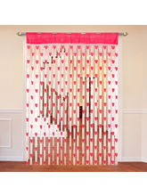 Cortina Heart Shape String Curtain Set Of 2-A, pink