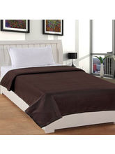 India Furnish Plain Polyester Fleece Blanket-Brown
