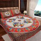 Ahmedabad Cotton Jaipuri Collection Cotton Double Bedsheet With 2 Pillow Covers (ACB20D00111)