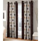 India Furnish Eyelet Polyester Curtain Door Length - Set Of 4 Pcs (IFCUR15011(4) ),  brown